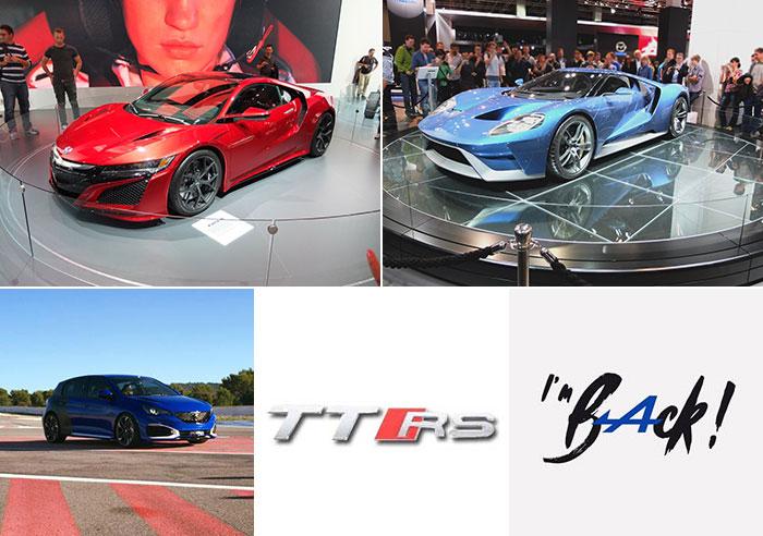 2016 anéée de la Honda NSX, Ford GT, Peugeot 308R HYbrid, Audi TT RS et d'Alpine
