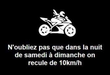 recule de 10km/h