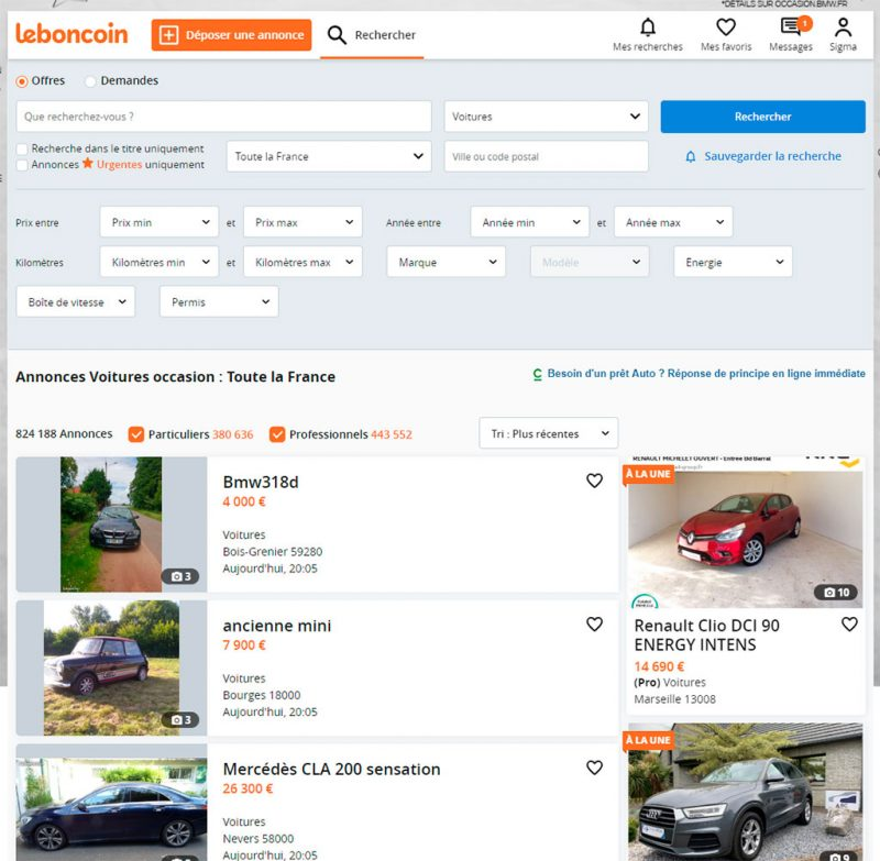 leboncoin capture de la section automobile