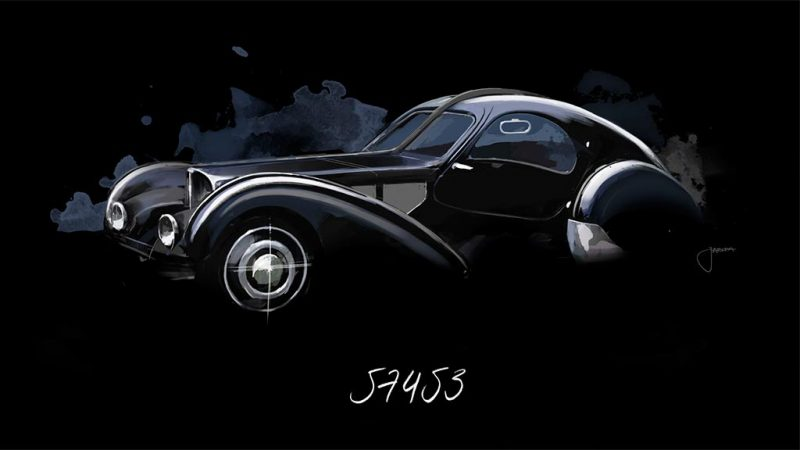 bugatti type 57sc voiture noire