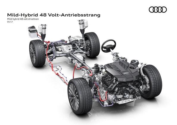 Mild hybrid 48 volt drivetrain