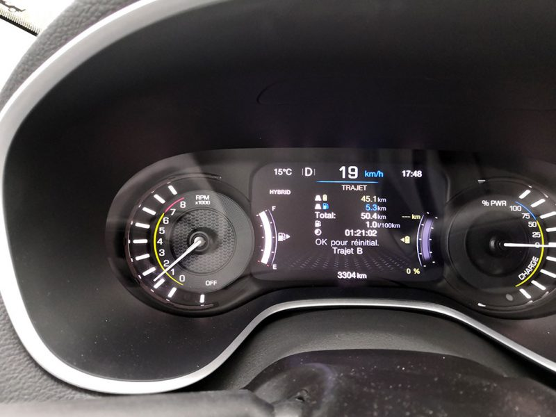 Consommation Jeep Compass 4xe hybride phev