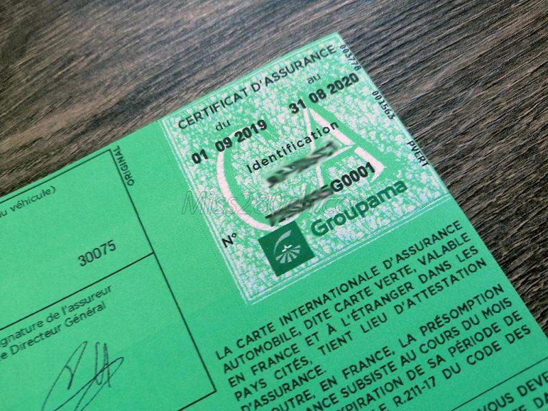assurance carte verte