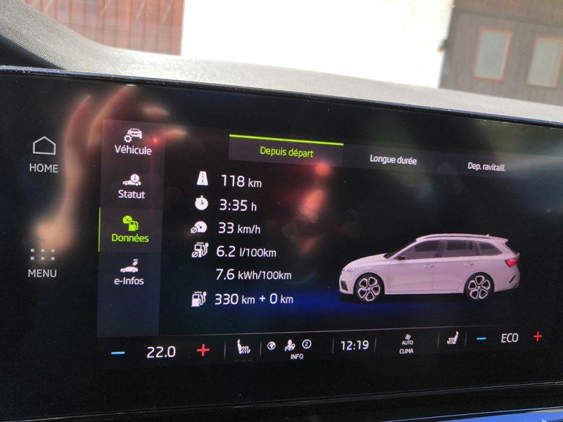 Essai Skoda Octavia RS iV Combi - consommation